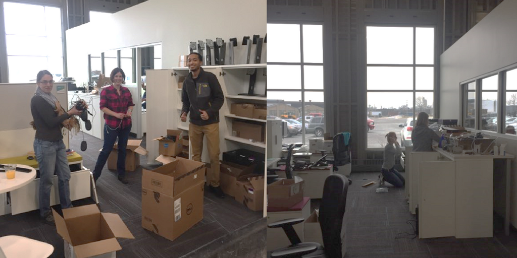 staff unpacking boxes