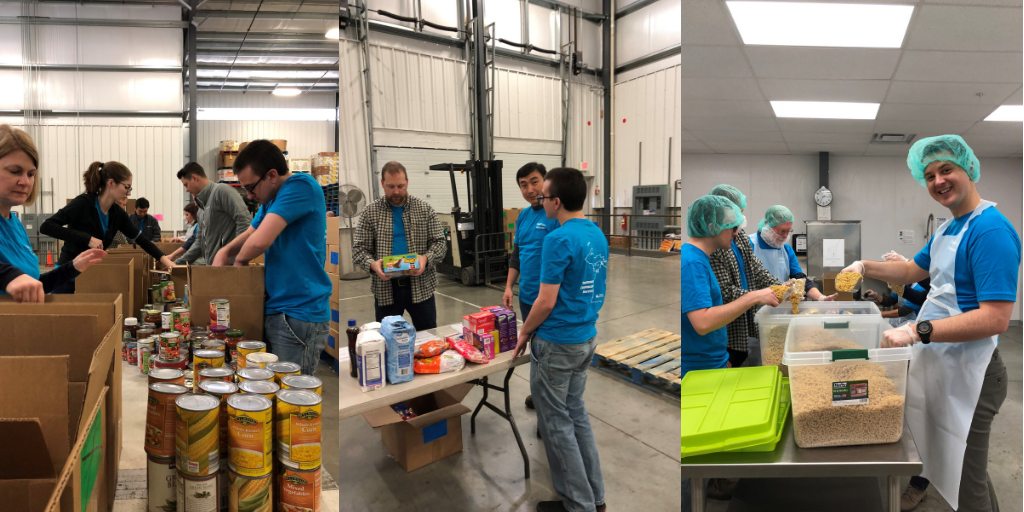 salespage group volunteering at kalamazoo loaves and fishes, 2018